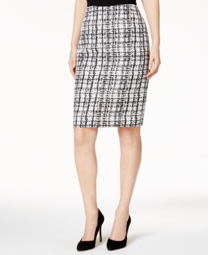 1960s Style Skirts Kasper Plaid Jacquard Pencil Skirt $49.99 AT vintagedancer.com