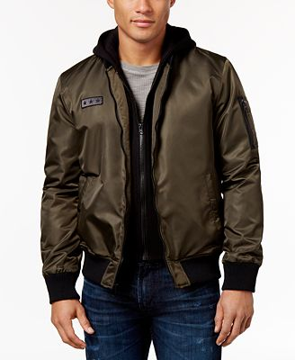 GUESS Men's Hooded Bomber Jacket - Coats & Jackets - Men - Macy's