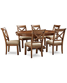 Mandara Expandable Round Furniture, 7-Pc. Set (Round Dining Trestle Table & 6 X-Back Side Chairs)