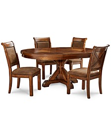 Closeout! Mandara Round Expandable 5-Pc. Set (Round Dining Trestle Table & 4 Side Chairs)
