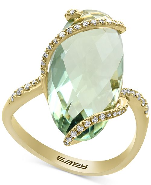 EFFY Collection EFFY® Green Amethyst (7-1/4 ct. t.w.) and Diamond (1/5 ct. t.w.) Ring in 14k Gold