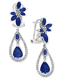 EFFY® Royal Bleu Sapphire (4-3/4 ct. t.w.) and Diamond (5/8 ct. t.w.) Fancy Drop Earrings in 14k White Gold, Created for Macy's