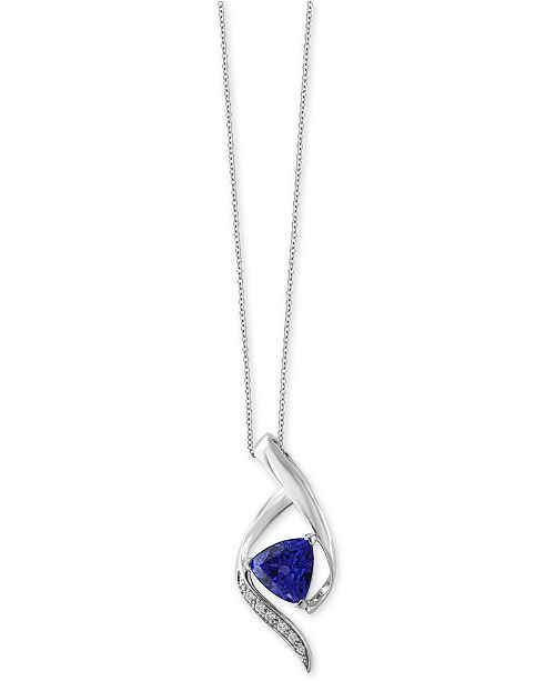 EFFY Collection EFFY® Tanzanite Royalé Tanzanite (1-1/2 ct. t.w.) and Diamond Accent Pendant Necklace in 14k White Gold, Created for Macy's