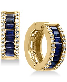 EFFY® Royalé Bleu Sapphire (1-1/2 ct. t.w.) and Diamond (3/8 ct. t.w.) Hoop Earrings in 14k Gold, Created for Macy's
