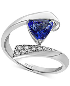 EFFY® Tanzanite Royalé Tanzanite (1 ct. t.w.) and Diamond Accent Bypass Ring in 14k White Gold, Created for Macy's