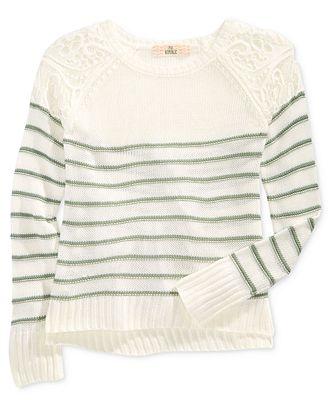 Pink Republic Striped Lace-Shoulder Sweater, Big Girls (7-16)