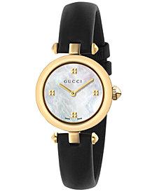 Gucci Women's Swiss Diamantissima Black Leather Strap Watch 27mm YA141505