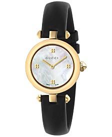 Gucci Women's Swiss Diamantissima Black Leather Strap Watch 27mm