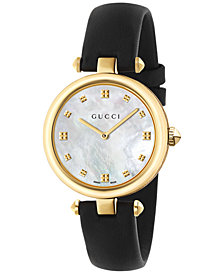 Gucci Women's Swiss Diamantissima Black Leather Strap Watch 32mm YA141404