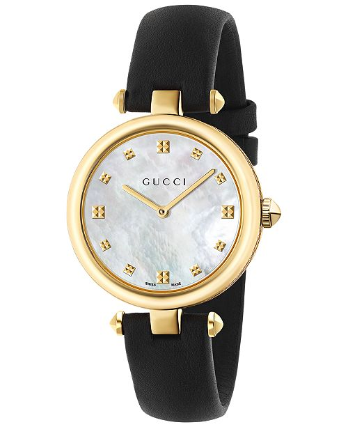 09416d5a6b1 ... Gucci Women s Swiss Diamantissima Black Leather Strap Watch 32mm  YA141404 ...