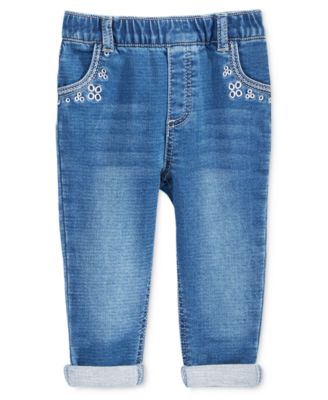 Baby Girls Embroidered Pull-On Jeans, Created for Macy's