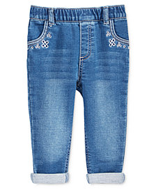 First Impressions Baby Girls Embroidered Pull-On Jeans, Created for Macy's