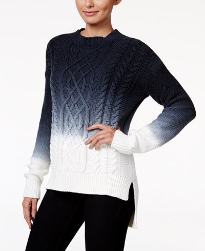 calvin klein jeans ombr cable knit sweater sweaters. Black Bedroom Furniture Sets. Home Design Ideas