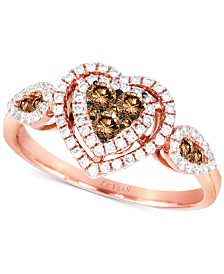 Le Vian Chocolatier® Diamond Hearts Ring (1/2 ct. t.w.) in 14k Rose Gold