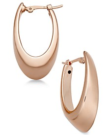 Polished Visor Hoop Earrings in 14k Rose Gold