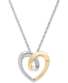 Diamond Accent Heart Pendant Necklace in Sterling Silver and 14k Gold