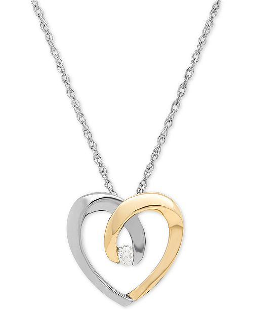 Macys diamond accent heart pendant necklace in sterling silver and main image aloadofball Image collections