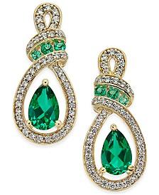 Emerald (5 ct. t.w.) and Diamond (1/4 ct. t.w.) Drop Earrings in 14k Gold