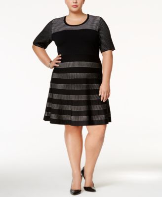 Calvin Klein Plus Size Colorblocked Fit & Flare Dress