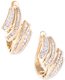 Wrapped In Love™ Diamond Wave Hoop Earrings (1/2 ct. t.w.) in 10k Gold, Created for Macy's