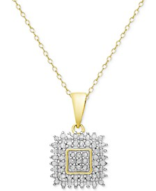 Diamond Square Pendant Necklace (1/2 ct. t.w.) in Sterling Silver or 18k Gold-Plated Sterling Silver