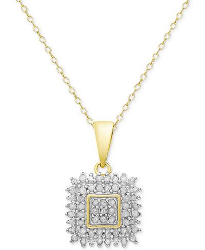Diamond square pendant necklace 12 ct tw in sterling silver or diamond square pendant necklace 12 ct tw in sterling silver or aloadofball Images