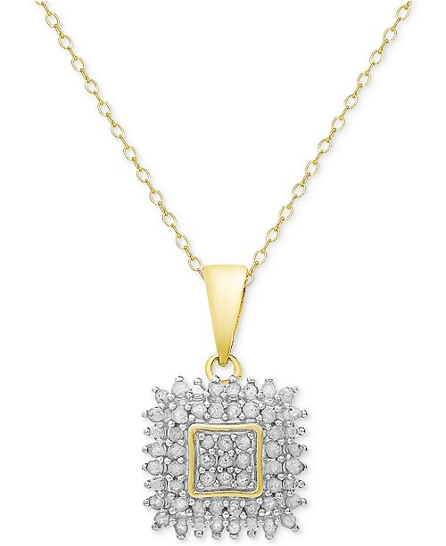 Victoria Townsend Diamond Square Pendant Necklace (1/2 ct. t.w.) in Sterling Silver or 18k Gold-Plated Sterling Silver