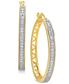 Diamond Openwork Hoop Earrings (1/4 ct. t.w.) in Sterling Silver, 18K Gold-Plated Sterling Silver, and 18K Rose Gold-Plated Sterling Silver