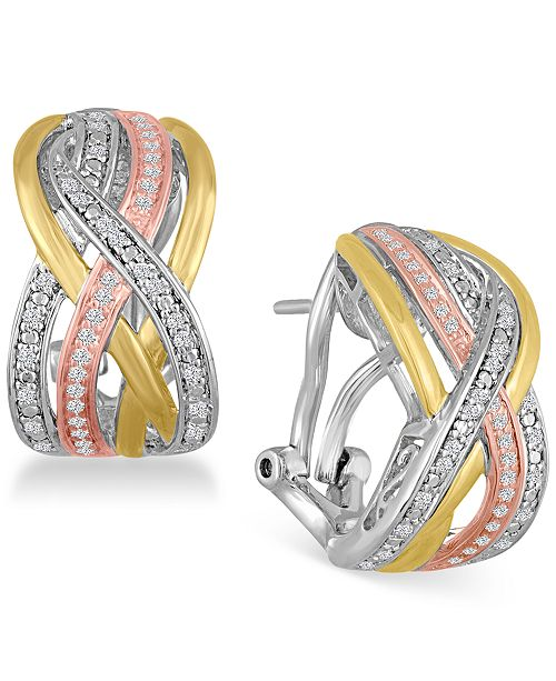 Macy's Diamond Weave Tri-Color Hoop Earrings (1/4 ct. t.w.) in Sterling Silver and 14k Gold-Plate