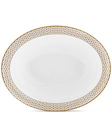 Waterford Lismore Diamond Gold Collection Open Vegetable Bowl