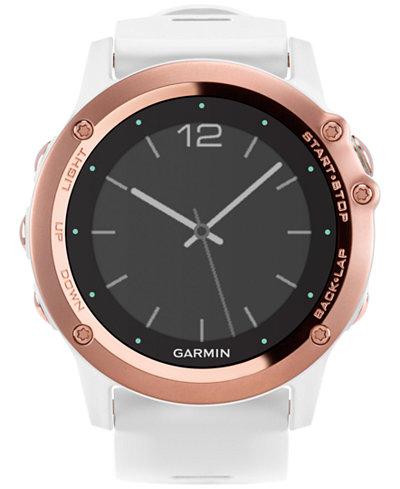 Garmin Women's Digital Fenix 3 Sapphire White Silicone Strap Smart Watch 51mm 010-01338-50