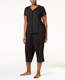 Plus Size Loop-Trimmed Top and Cropped Pants Pajama Set, Created for Macy's