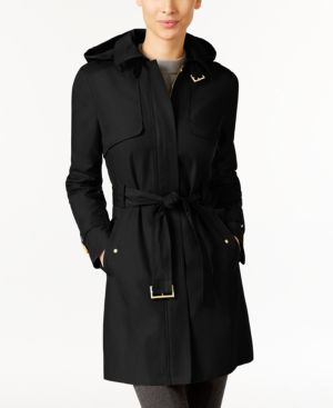 SIGNATURE HOODED BELTED TRENCH COAT