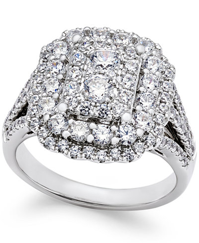 Diamond Cluster Engagement Ring (1-3/4 ct. t.w.) in 14k White Gold