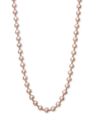 Pink Cultured Freshwater Pearl (7-1/2mm) and Gold Bead Collar Necklace in 14k Rose Gold