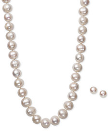 White Cultured Freshwater Pearl (10-1/2mm) Necklace and Matching Stud (8mm) Earrings Set in Sterling Silver