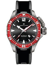 LIMITED EDITION Hamilton Men's Swiss Automatic Khaki Navy Frogman Black Rubber Strap Watch 46mm H77805335 - Limited Edition