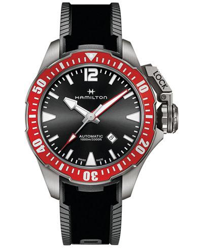 Hamilton Men's Swiss Automatic Khaki Navy Frogman Black Rubber Strap Watch 46mm H77805335 - Limited ...