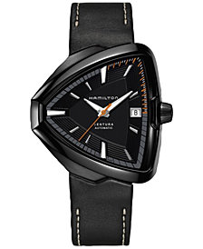 Hamilton Men's Swiss Automatic Ventura Elvis Black Leather Strap Watch 43x45mm H24585731