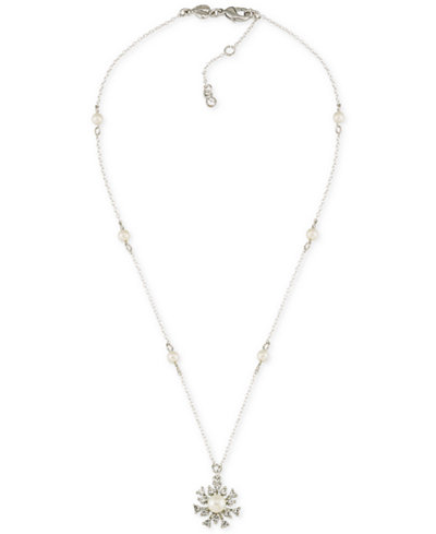 Carolee Silver-Tone Crystal and Imitation Pearl Pendant Necklace