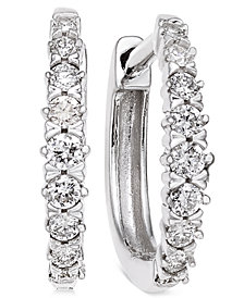 Diamond Hoop Earrings (1/4 ct. t.w.) in 14k White Gold
