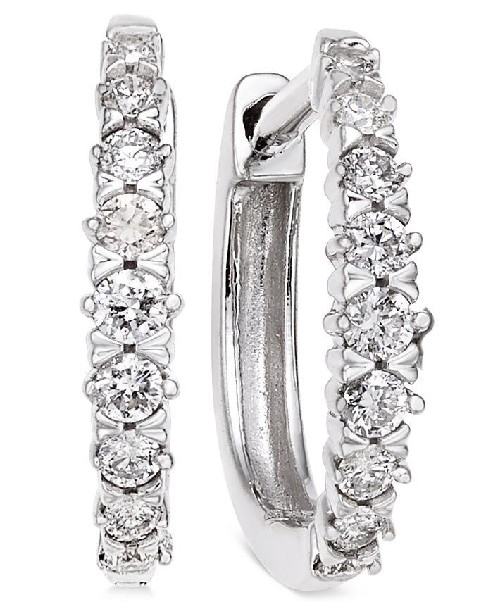 Macy's - Diamond Hoop Earrings (1/4 ct. t.w.) in 14k White Gold