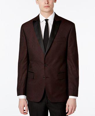 Ryan Seacrest Distinction™ Men's Slim-Fit Burgundy Brocade Dinner Jacket, Only at Macy's