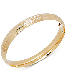Textured Hinged Bangle Bracelet in 14k Gold