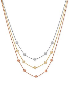 Decorative Triple Necklace in 14k Rose, White & Gold