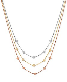Italian Gold Decorative Triple Necklace in 14k Rose, White & Gold