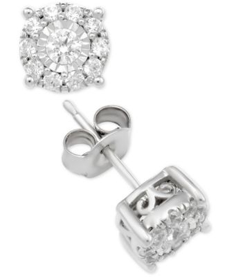 Macy S Diamond Halo Stud Earrings 1 Ct T W In 14k Gold White Or Rose Jewelry Watches