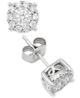 Macy S Diamond Halo Stud Earrings 1 Ct T W In 14k Gold White