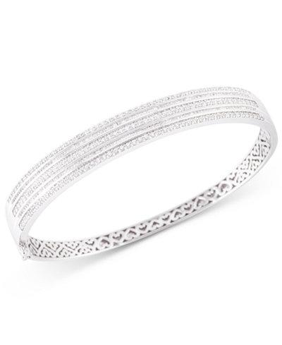 Diamond Bangle Bracelet (2 ct. t.w.) in 10k White Gold