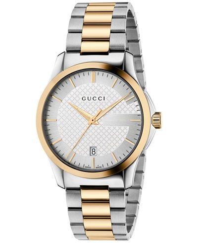 Gucci Men's Swiss G-Timeless Two-Tone PVD Stainless Steel Bracelet Watch 38mm YA126474